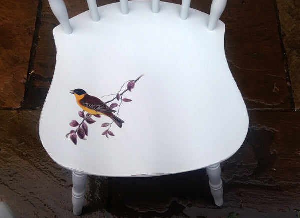 Mismatched vintage dining chair set with your choice of bird design - made to order