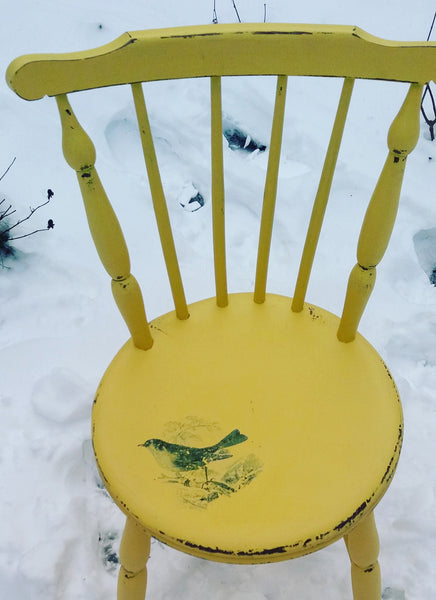 Vintage painted yellow penny chair with retro jade green bird design