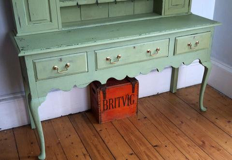 Antique vintage kitchen dresser painted in Miss Mustard Seed Milk Paint luckett's Green