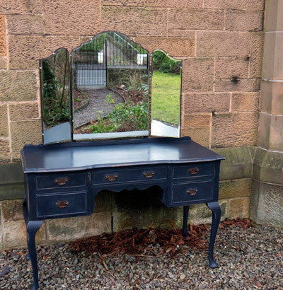 Vintage 1950's Black hand painted French Style Dressing Table by Emily Rose Vintage
