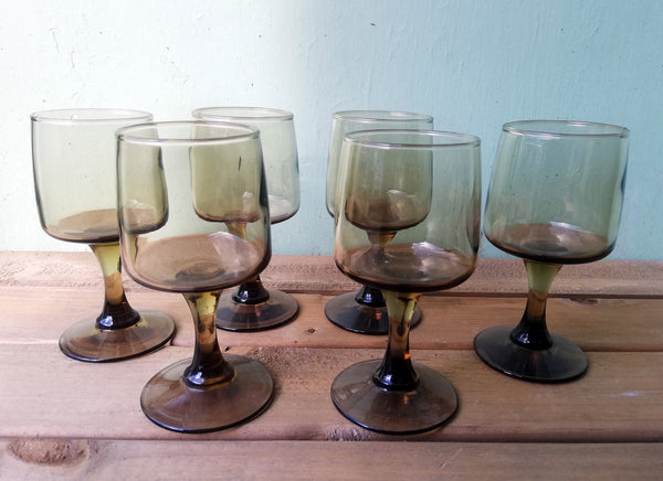 Vintage 1970's smoked glass sherry glasses