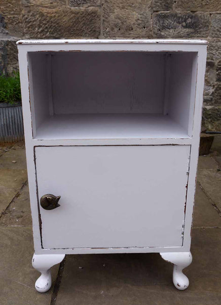 Vintage Bedside Cabinet painted in Fusion Mineral Paint Little Stork with fox handle