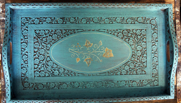 Vintage Carved Wooden Tray With Brass Inlay