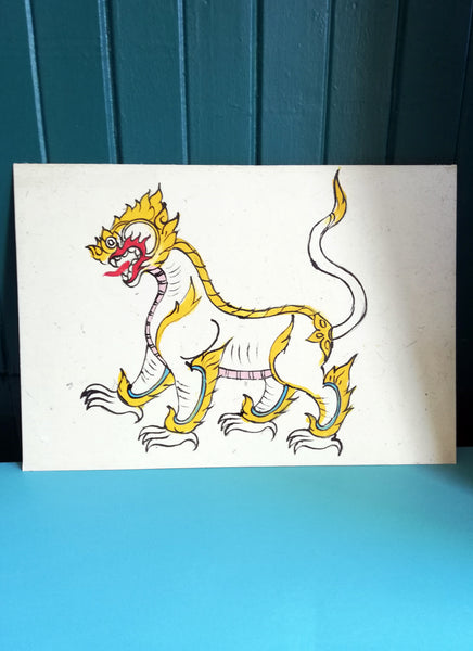 Vintage Chinese Dragon Ink drawing on handmade paper