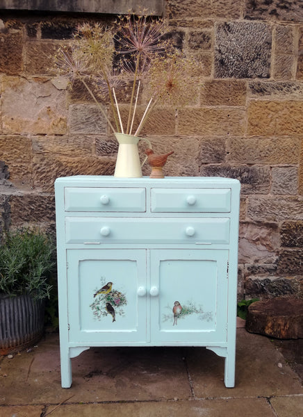 Vintage Cupboard painted in Fusion Mineral Paint with bird design