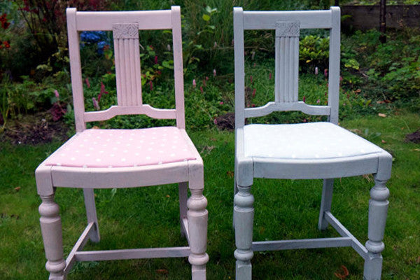 Vintage Shabby chic grey and pink chairs hand painted in annie sloan with matching polka dot fabric by Emily Rose Vintage