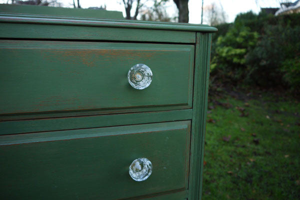 Vintage shabby chic green hand painted chest of drawers in miss Mustard Seed Milk Paint by Emily Rose Vintage