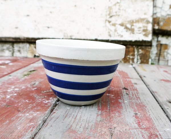 Vintage blue and white striped cornishware small pudding bowl
