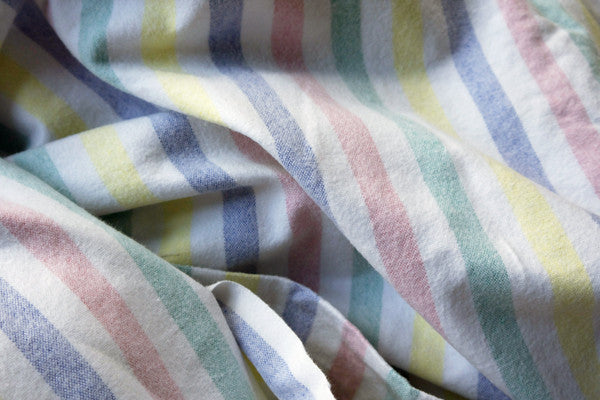 Vintage candy stripe double cotton flat sheet in pastel colours  from Emily Rose Vintage