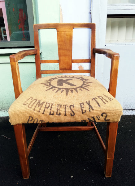 RESERVED Vintage captain's carver chair with  vintage feedsack upholstery