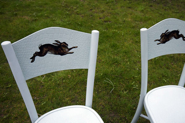 Vintage chairs In Autentico Poetic with leaping Hare designby emily rose vintage