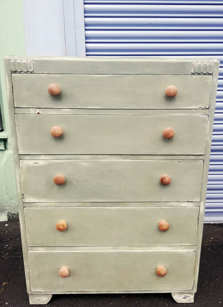 Vintage chest of drawers hand painted in layers of chippy chalk paint in cream and soft green