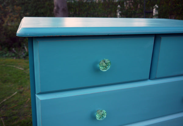 Vintage chest of drawers handpainted in shades of Teal with turqouise crystal handles