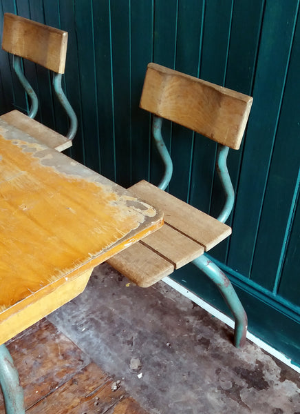 Vintage children's double school desk and chair set