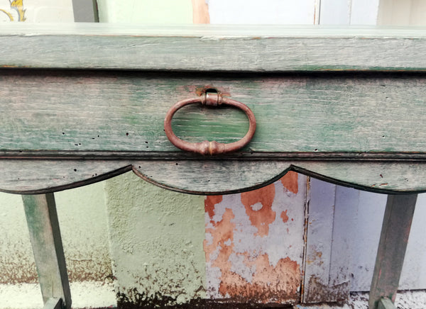 Vintage console table / desk painted in soft layers of green, coral and cream