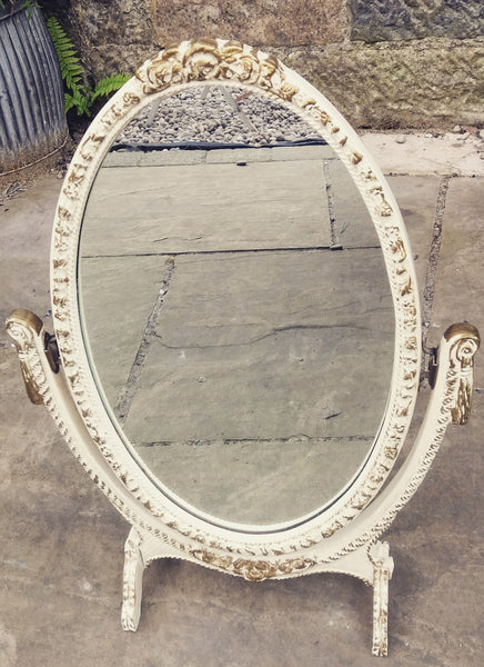 Vintage cream and gold painted freestanding dressing table mirror