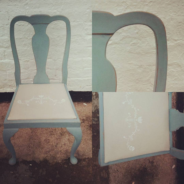 Vintage dining chair painted in fusion mineral paint metallic gold and heirloom a lovely Swedish blue.