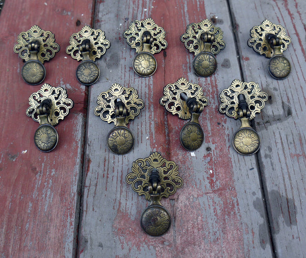 Vintage droplet cabinet drawer pulls handles - set of 10