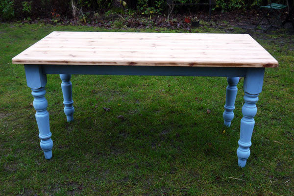 Vintage farmhouse pine dining table with painted legs  and a retro scrub top finish refurbished by emily rose vintage Made to Order