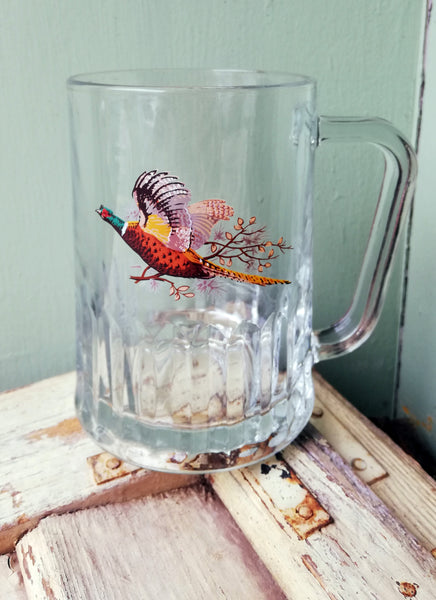 Vintage glass tankard with pheasant design