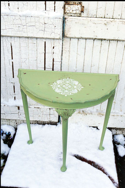 Vintage half moon table in miss mustard seed milk paint in Luckett's Green with white stencil detail