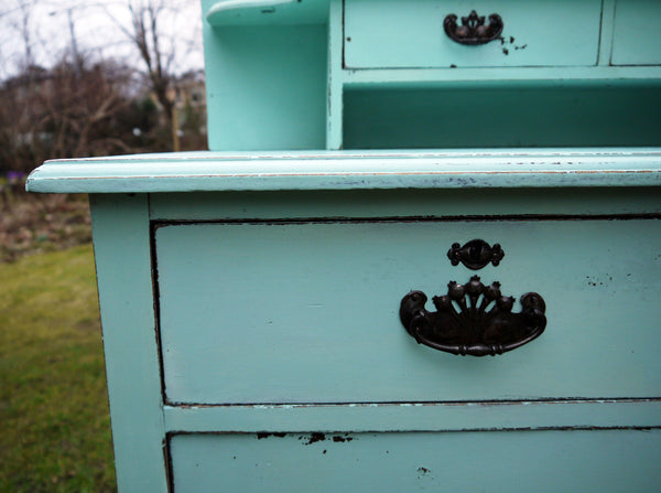 Vintage hand painted dressing table in Miss Mustard Seed Eulalie's Sky