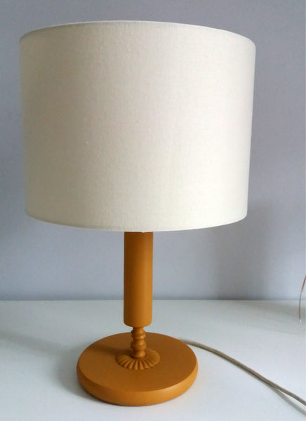 Vintage lamp base updated with fusion mineral paint in Mustard Yellow