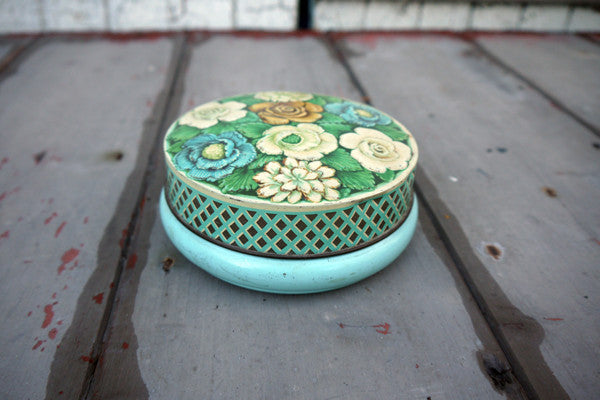 Vintage metal tin in blue florals from Emily Rose Vintage