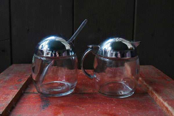 Vintage mid century danish glass creamer jug and sugar bowl set