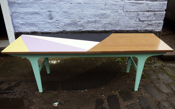 Vintage mid century painted geometric coffee table