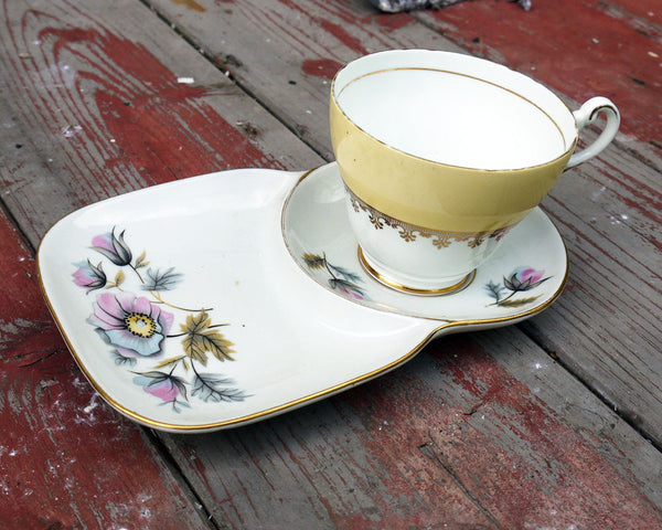 Vintage mismatched teacup and saucer supper set