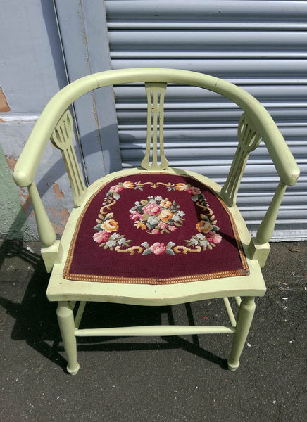 Vintage needlepoint bedroom chair painted in a soft apple green