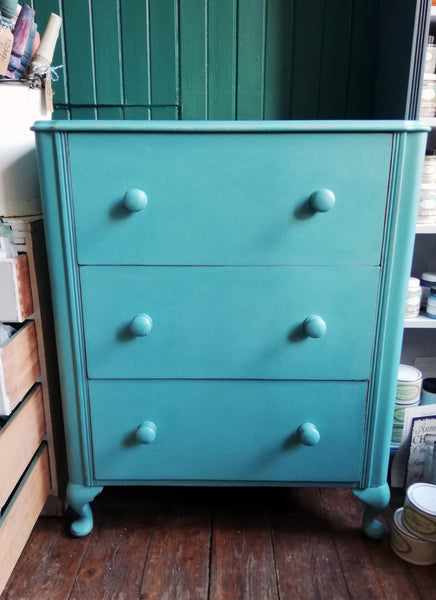 Vintage painted chest of drawers with decoupaged drawers