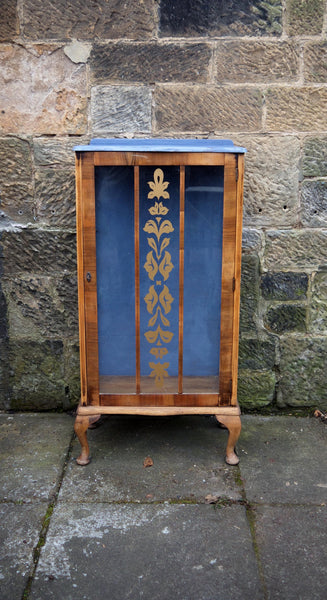 Vintage painted glass fronted display cabinet