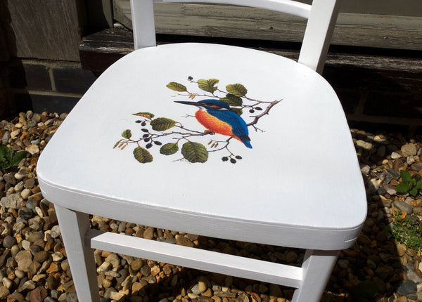 Vintage personalised kids school chair Fusion Mineral Paint in Picket Fence and transfer gel