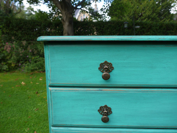 hand painted vintage pine chest of drawers (her own)  General Finishes Patina Green with black glaze