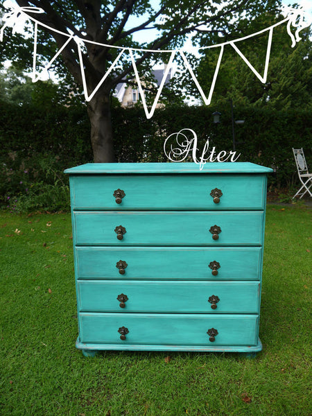 Custom Listing for Keira hand painted vintage pine chest of drawers