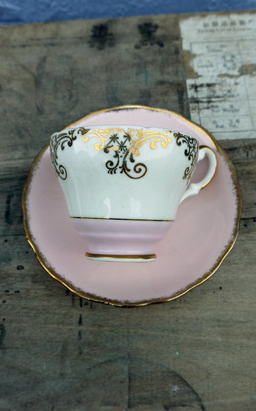 Vintage pink gold and white teacup