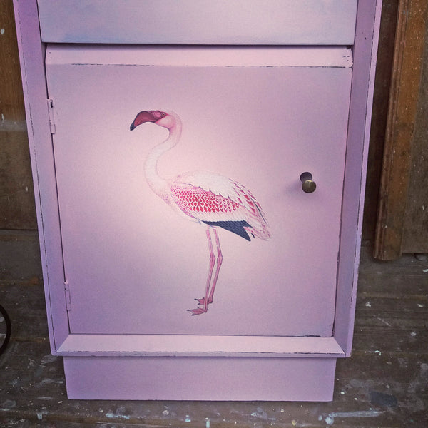 Vintage pink painted bedside cabinet with flamingo design in aid of breast cancer awareness month