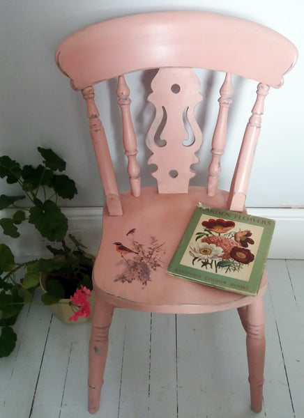 Vintage pink painted fiddleback chair with bird design