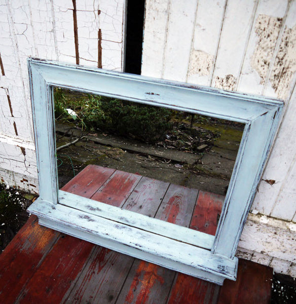 Shabby Chic Vintage rectangular wooden mirror with shelf in Miss Mustard Seed Milk paint. I mixed a custom blend of Eulalies Sky and Grain Sack to create this beautiful sift blue. The mirror had been sanded back and sealed with hemp oil and dark wax.
