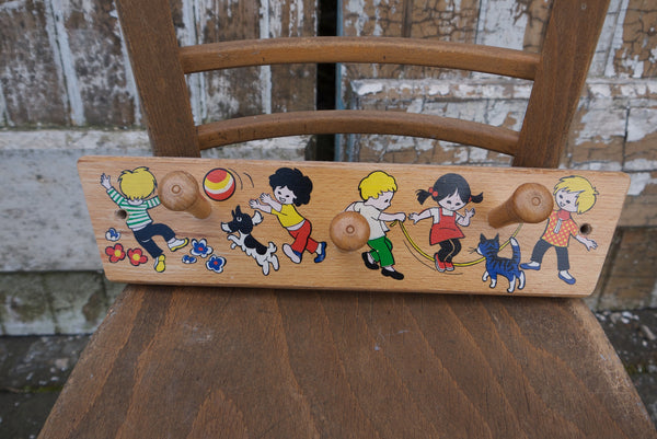 vintage retro children set of wooden wall hooks