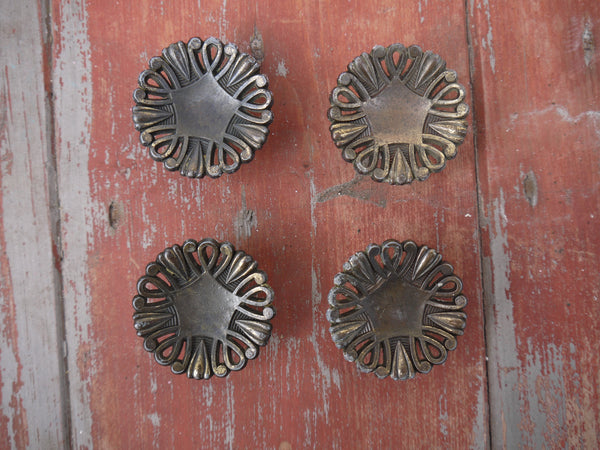 Vintage round cupboard cabinet knobs handles drawer pulls set of 4