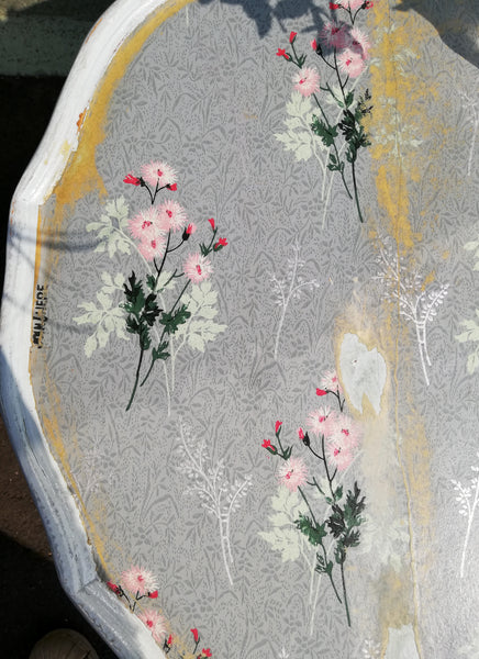 Vintage round hand painted coffee table with decoupaged top