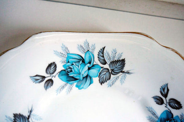 Vintage shabby chic dinner plate with retro  blue rose design from Emily Rose Vintage