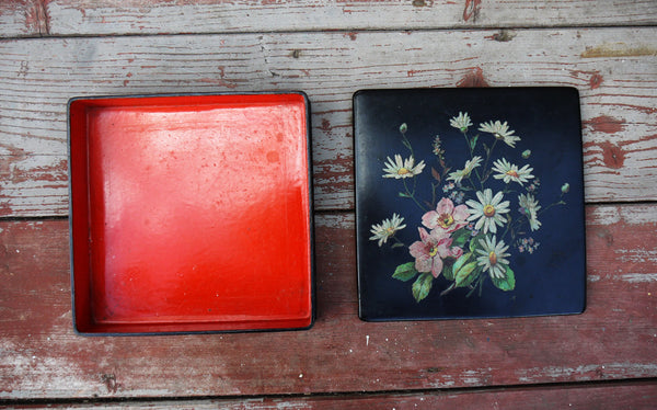 Vintage square floral wooden box in black and red wth traditional decoupaged flowers on the lid