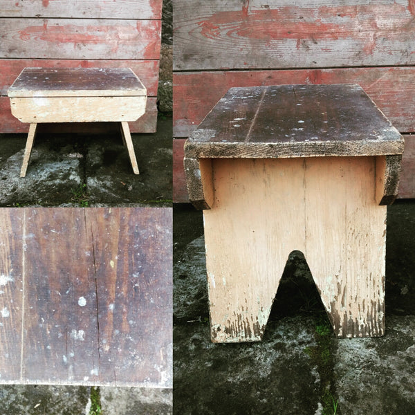 Vintage step stool with original chippy paint