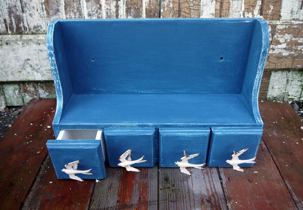 Vintage wall shelf hand painted in white a blue with swallow drawer pulls