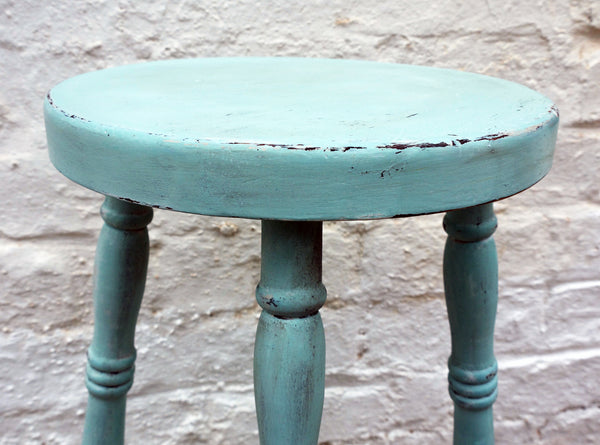Vintage wooden stool in Miss Mustard Seed Milk Paint