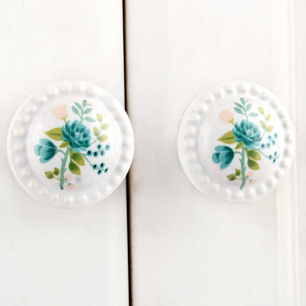 White Blue Flower floral furniture Knob